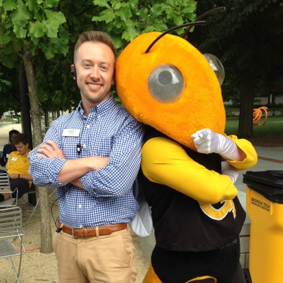 hanging with Buzz during an orientation session